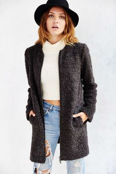 Kimchi Blue Textured Column Coat - Urban Outfitters