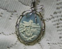 Dragonfly Necklace, Dragonfly Pendant, Blue and White, Dragonfly charm, Silver Dragonfly, nymph, Water Lily and Dragonfly, Dragonfly jewelry