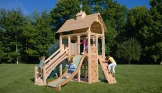 CedarWorks Serendipity 6 playset fits a smaller space but can have swings added.