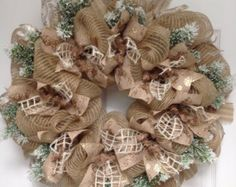 Snowy Night Winter Ribbon Deco Mesh Wreath by whatameshbydiana