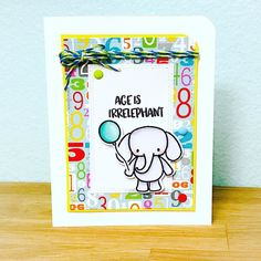Made this adorable card using the @heffydoodlestamps Elephant of Surprise stamp set. I love these new stamps @hungryheffy!! #thedailymarker30day #heffydoodlestamps #elephant #cardmaking