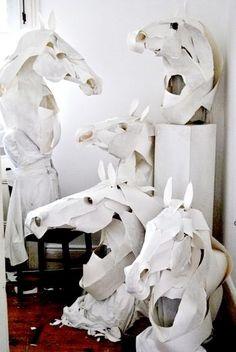 paper sculpture / anna wili highfield Horse Mask for Hermes Horse Sculpture, Animal Sculptures, Paper Sculptures, Sculpture Ideas, Horse Mask, Horse Head, Instalation Art, Equine Art, Art Design