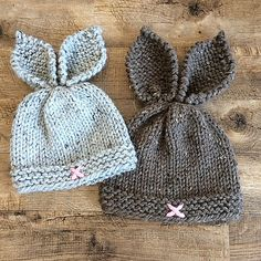 Rustic Knit Bunny Toque Knitting PatternKnit Hat K Baby Boy Knitting Patterns Free, Baby Hats Knitting, Crochet Baby Hats, Loom Knitting, Baby Patterns, Knit Patterns, Knitted Hats, Newborn Knit Hat, Bunny Hat