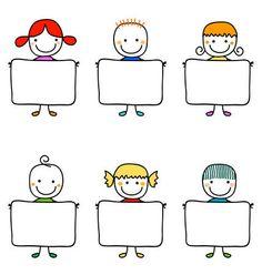 Mind Map Design, Kindergarten Portfolio, Baby Frame, Clip Art, School Frame, Illustration, Banner Printing, Stick Figures, Happy Kids