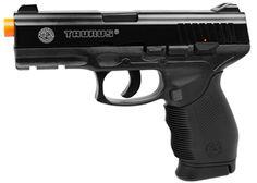 Pistola Airsoft Taurus 24/7 - 6mm - CO2 Escala: 1:1  Mão: Ambidestro Numero de Serie: Sim Potencia:  394 FPS - 120m/s com 0,12g BBs Energia: 1.2 Joules Distancia Efetiva: Até 30m Construção: ABS & Metal Modo de Disparo: Semi Automatico Hop-Up: Fixo Capacidade do Carregador: 15 bbs  Mira: Não-Ajustável Munição: BBs PVC Fonte de Energia: CO2 (Mini Cápsulas de 12g) Peso da Arma: 550g Blow Back - Não Cor: Preto Ponta: Alaranjado
