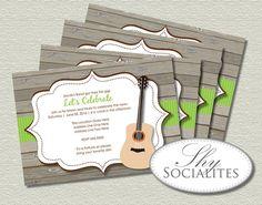 Rustic Guitar  Printable Music Invitations by ShySocialites, $12.00
