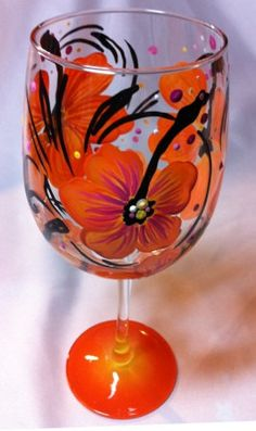 Orange Hibiscus Wine Glass by thepaintedflower on Etsy