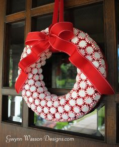Candy Wreath - 23 Great DIY Christmas Wreath Ideas.  Love the peppermints idea...would need to seal it to keep it year after year.