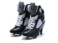 882d89b2107b Cheap Air Jordan 5 V High Heels Black White For Sale