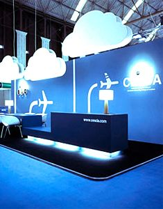 Aviation stand with fantastic blue hues and perfectly placed white clouds.