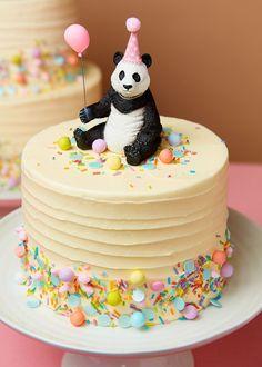 Animal Cake Toppers - The Original Party Bag Company Panda Birthday Cake, Animal Birthday Cakes, Baby Birthday Cakes, Girls First Birthday Cake, Birthday Ideas, Bolo Panda, Baby Shower Cake Designs, Peggy Porschen Cakes, Panda Cakes