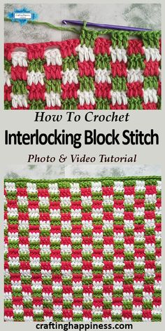 Easy Crochet Interlocking Block Stitch (aka Plaid Stitch) photo & video tutorial by Crafting Happiness are looking for a solid versatile stitch for your project that looks beautiful from both sides? Then this stitch is the one for you. Different Crochet Stitches, Crochet Stitches Free, Crochet Borders, Afghan Crochet Patterns, Crochet Basics, Free Crochet, Knitting Patterns, Crochet Baby, Crocheted Baby Blankets