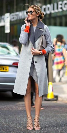 Street style | Olivia Palermo | Grey and a pop of orange.
