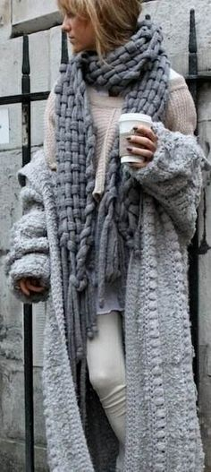 All I want for Winter! Love Love LOVE this Look! Warm AND Chunky! Oversized Grey Layered Chunky Sweater Fashion!