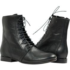 """PAOLO IANTORNO Susie Black """"Nero"""" Nappa Leather Laced up Short Boots ($269) ❤ liked on Polyvore featuring shoes, boots, ankle booties, black, black lace up boots, black laced booties, black booties, black ankle bootie and lace-up ankle booties"""
