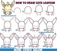 Drawing Techniques How to Draw Cute Kawaii Chibi Leafeon from Pokemon Easy Step by Step Drawing Tutorial for Kids 3d Drawings, Kawaii Drawings, 3d Drawing Tutorial, How To Draw Steps, How To Draw Cute, Drawing Tutorials For Beginners, Kawaii Chibi, Drawing Skills, Drawing Techniques