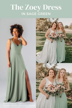 The Zoey dress is simple, universal, and flattering on all body types! It looks amazing in 'Sage Green' but comes in many other colors as well! Find your perfect shade of the Zoey dress with Kennedy Blue!   Flower bouquet inspiration   simple bridesmaids dresses   outdoor wedding photos   bridesmaid dresses in sage green   the Zoey dress from Kennedy Blue   summer wedding ideas Affordable Bridesmaid Dresses, Beautiful Bridesmaid Dresses, Green Bridesmaid Dresses, Bridesmaids, Wedding Dresses, Wedding Photos, Wedding Ideas, Party Looks, Body Types