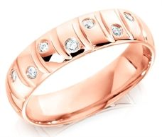 9ct Pink Gold Gents 6mm Wedding Ring with Curved Grooves and 14pts of Alternate Set Diamonds
