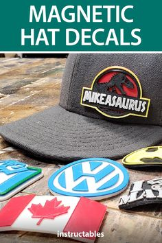 These magnetic 3D printed hat decals designed using Tinkercad are great because they are easy to use and change out. #Instructables #fashion #accessory #3Dprint #toy 3d Printer, Comic Art, Magnets, Decals, Printing, Diy Projects, Toy, Change, Sewing
