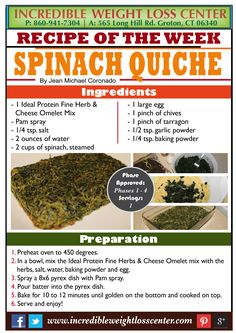 Ideal Protein - Spinach Quiche This is a delicious and quick to make recipe that will definitely help those craving for a cheesy flavored quiche! Ideal Protein - Phase 1 allowed! #IdealProtein #Diet #WeightLoss #Phase1 #Nutrition #Recipe #DIY #Veggies # (Quick Diet Veggies)