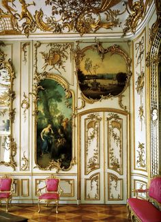 Sanssouci Palace's music room. The house was designed by Georg Wenzeslaus von Knobelsdorff.