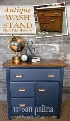 Antique Wash Stand {Before and After} (Urban Patina) - Modern Cheap Patio Furniture, Diy Kids Furniture, Affordable Furniture, Refurbished Furniture, Repurposed Furniture, New Furniture, Urban Furniture, Furniture Projects, Antique Furniture