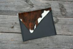 Leather iPad Cover! Beaudin Austin IPad Cover - Tri-Color Hair On Hide Leather Flap, Italian Black Leather - IPad Sleeve Case Cover - Hidde from Picsity.com