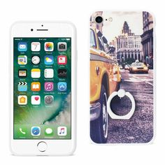 IPHONE 7 NEW YORK CAB DESIGN CASE WITH 360 DEGREE ROTATING RING STAND HOLDER