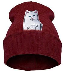 f36d9a3ed7cb9 Thenice women s winter wool cap hip hop knitting skull hat (Middle middle  finger cat Red