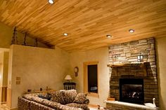 Architectural : Classic Tongue And Groove Wall Paneling With Small LED Light In The Wood Ceiling For Small Living Room With Brick Stone Fireplace Mantels And Wood Floating Shelves Installing Tongue and Groove Paneling Tips Tongue And Groove Wood Paneling. Tongue And Groove Pine Paneling. Cedar Tongue And Groove Paneling.