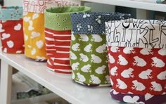 fabric buckets - great idea from Film in the Fridge