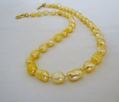 Freshwater Pearl Necklace Yellow by PolishedPlum on Etsy, $32.00