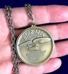 Star-Trek-Lives-1974-Kirk-Spock-Bronze-Medallion-amp-Necklace-Edge-Marked