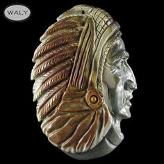 Carved XLarge American Indian Pendant Bead AD602004 | eBay