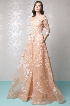 Off the shoulder Peach Crinoline dress with embroidered Tulle, foliage embellishments and ¾ sleeves, featuring a two-side panel overskirt.