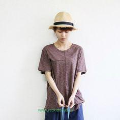 Korea womens apparel shopping mall [REDKITTEN] Rectangular pocket sleeve / Size : FREE / Price : 45.10 USD #woman-fashion #casual #ootd #basic #Tshirt #TEE #T #tops #REDKITTEN