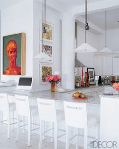 All white with pops of color from art