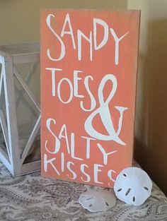 Sandy toes and salty kisses beach sign, primitive,
