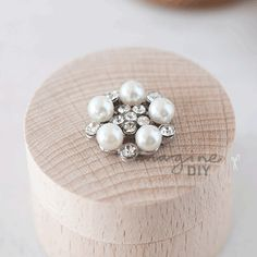 Ritz small, pretty pearl and crystal embellishment. Small invitation for luxury diy wedding invitations and stationery