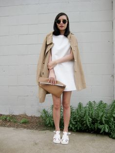 California babe opts for a super chic neutral palette with the Allanis Leather Loose Shift Dress and Ludovina White Platform Sandals. White Sandals, Little White Dresses, Missguided, New Dress, Cool Outfits, Normcore, Neutral Palette, Chic, Babe