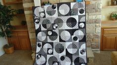 Very Zen Black and White Quilt, Modern Lap Quilt, Wall quilt, Graphic Quilt, Art Quilt, Crazy Curves. $150.00, via Etsy.