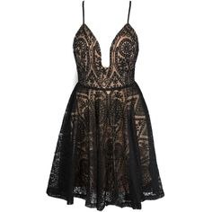 Black Spaghetti Strap Plunge Open Back Lace Dress ($45) ❤ liked on Polyvore featuring dresses, open back cocktail dress, open-back dresses, lacy dress, lace dress and lace plunge dress