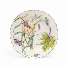 A CHELSEA 'HANS SLOANE' BOTANICAL LOBED CIRCULAR PLATE | CIRCA 1755, RED ANCHOR MARK | SILVER Auction | mid 18th Century, flowers & plants | Christie's