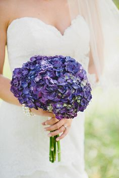 Purple hydrangea Bouquet | On SMP: http://www.stylemepretty.com/georgia-weddings/dahlonega/2012/10/11/dahlonega-wedding-at-white-oaks-barn-from-amy-arrington-photography | Amy Arrington Photography