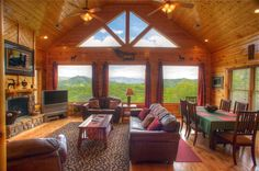 Cades Cove Vista Lodge - View of Mt. LeConte, Thunderhead, Rocky Top and Rich Mountain - This cabin has the best 180 degree views of the Great Smoky Mountains that you will ever find in a cabin! Click to see more!