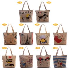Eco Women Brown Canvas Paris Tower Zebra Shopper Handbag Shoulder Tote Bags #Generic #ShoulderBag