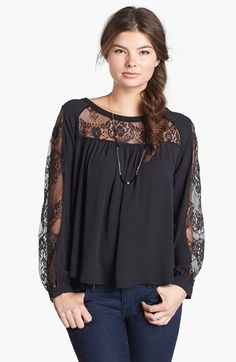 Elodie Lace Inset Peasant Top (Juniors) (Online Only) available at #Nordstrom