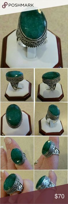 Genuine 43ct Natural Emerald Ring size 10 Gorgeous Dark Green 43ct Natural Emerald Solitaire Set in 925 stamped Solid Sterling Silver. Please see all pictures for details. Brand New. Never Worn. Wholesale Prices. Retail Value 499.00 Jewelry Rings