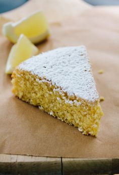 Lemon polenta cake - easy, with a delicious crunch. I didn't bother with separating egg whites, just added an extra egg instead.