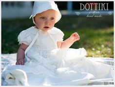 Silk and Lace Christening Gown Baptism Dress Baptism von DOTTIKI